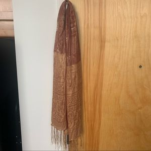 Indian silk scarf/wrap - golds/browns/tans